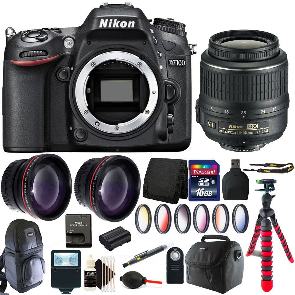 Nikon D7100 24.1 MP Digital SLR Camera + 18-55mm Lens with 16GB Accessory Bundle
