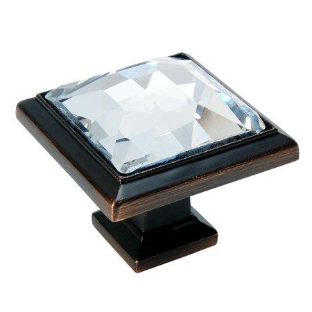 Cosmas 5883ORB-C Oil Rubbed Bronze & Clear Glass Square Cabinet Knob