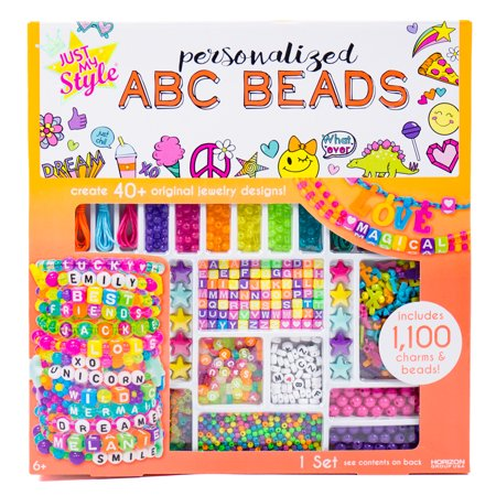 Just My Style Personalized ABC Beads, Includes 1000+ Beads Heart Necklace Craft Kit
