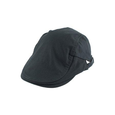 Canvas Summer Newsboy Duckbill Ivy Cap Driving Flat Adjtable Beret Hat - Black Cabbie Hat