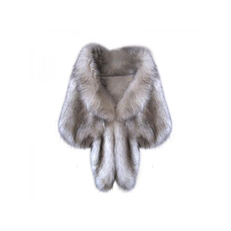 Nicesee Women Winter Warm Soft Faux Rabbit Fur Shawl Stole Shrug