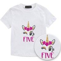 KABOER Kid's Unicorn Birthday Flowers T-Shirt Unicorn Outfit Childs Gifts Boys Girls Costumes