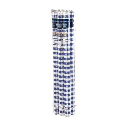 Pack of 6 Blue Gingham Disposable Plastic Banquet Party Table Cloth Rolls 100' (Blue Gingham Tablecloth Plastic)