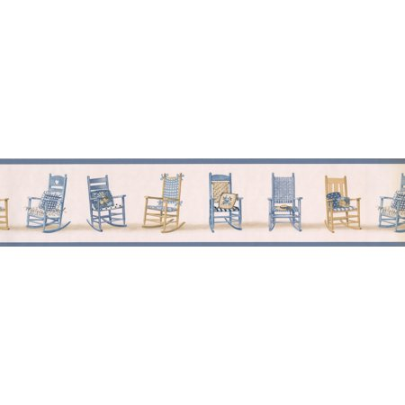 Blue Brown Rocking Chairs Beige Wallpaper Border Retro Design, Roll 15' x 5.25'' - image 1 of 3