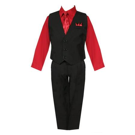 Baby Boys Black Red Shirt Vest Pants Neck Tie Pocket Hanky 5 pcs Suit 3-24M - Baby Bunting Suit