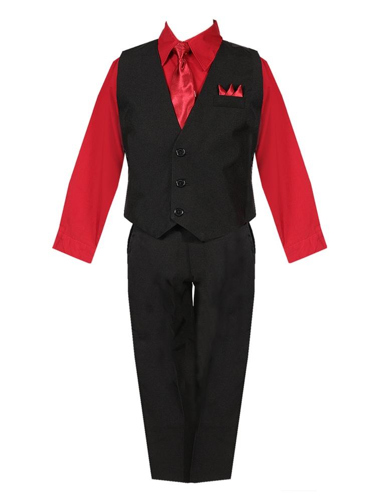 Baby Boys Black Red Shirt Vest Pants Neck Tie Pocket Hanky 5 pcs Suit 3-24M