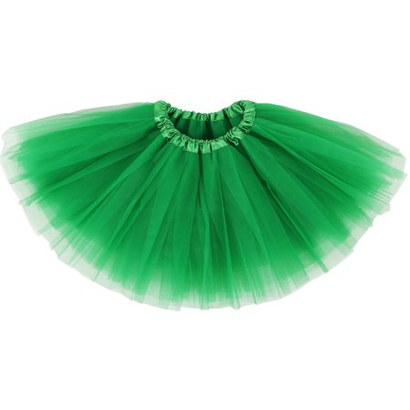 Girl's Classic Elastic, Tulle Tutu Skirt Pettiskirt, Sante Green (Halloween Safety Tips Red Cross)