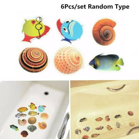 6Pcs/Set Bathtub Sticker Sea Fish Conch Bath Tub Satety Sticker Non Slip anti-skid Bathtub Bathroom Decor