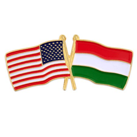 PinMart's USA and Hungary Crossed Friendship Flag Enamel Lapel
