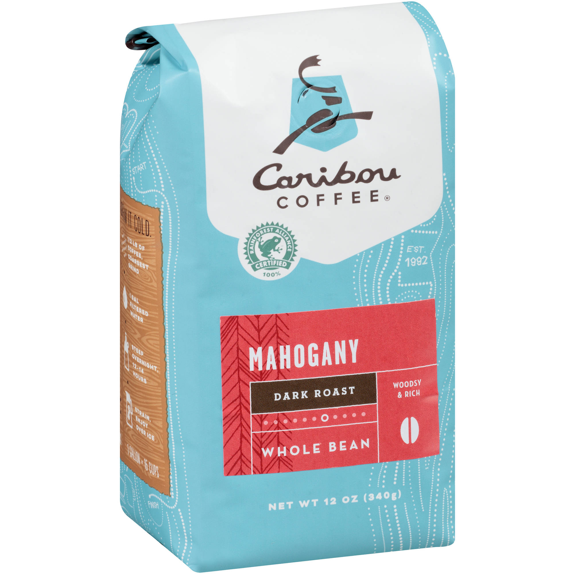 Caribou Coffee Mahogany Dark Roast Whole Bean Coffee, 12 oz