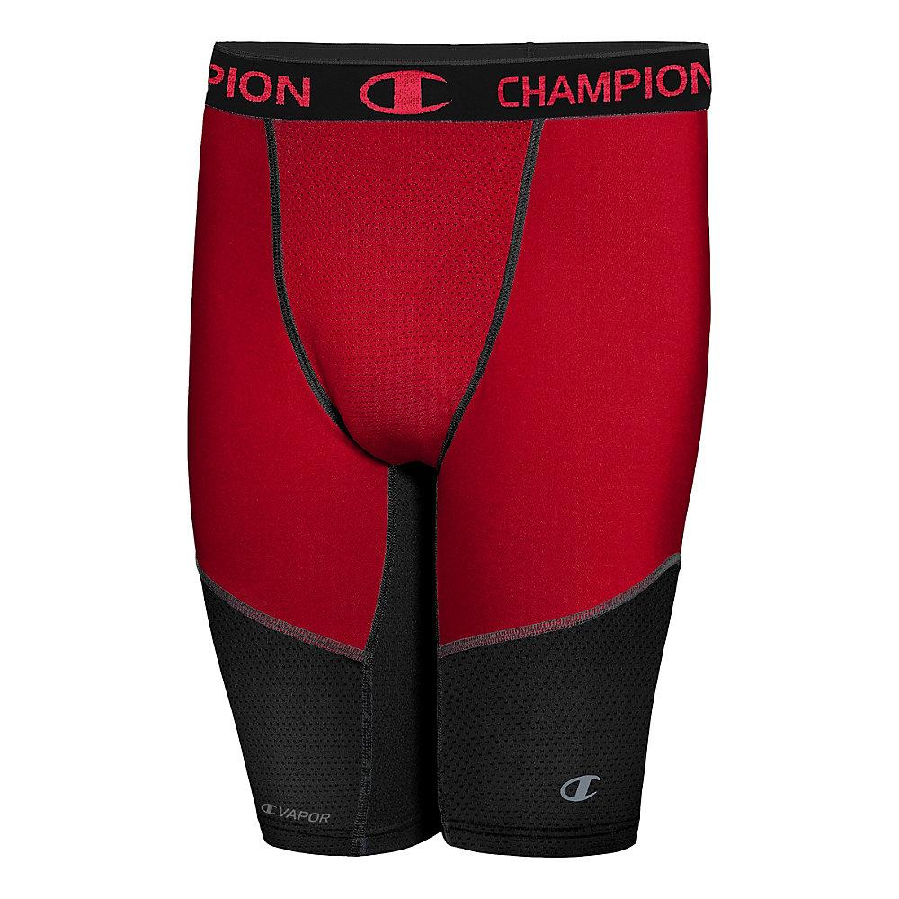 XL Champion Men/'s Powerflex 9 Inch Compression Short Champion Scarlet//Black