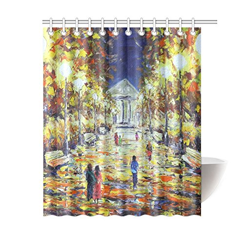 GCKG Evening Walking In The Autumn Shower Curtain Oil Painting Cityscape Polyester Fabric Bathroom Sets With Hooks 60x72 Inches