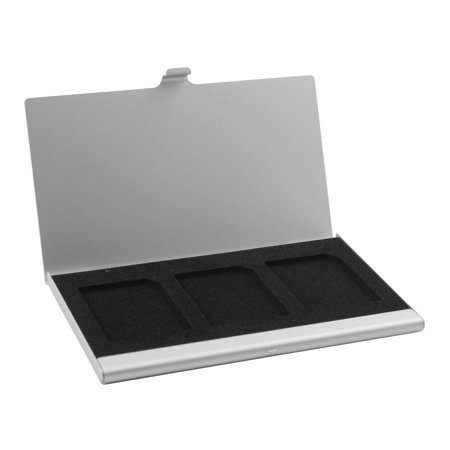 Aluminum Alloy 3 Slots SIM Card Storage Case Silver Tone for Memory SD TF Card - image 1 of 1