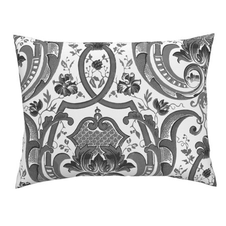 Brocade Jacquard - Damask Victorian Floral Trellis Jacquard Brocade Chic Pillow Sham by Roostery