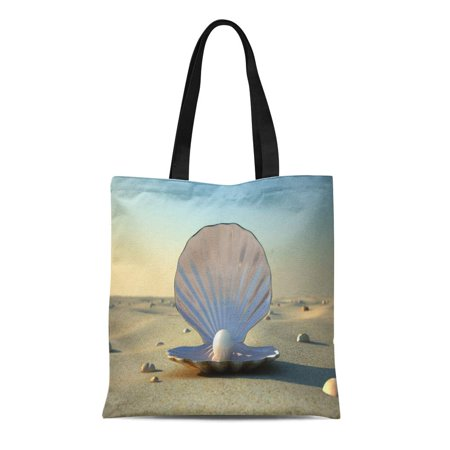 SIDONKU Canvas Tote Bag Pink Oyster Open Sea Shell Pearl Inside Sand Beach Reusable Shoulder Grocery Shopping Bags (Satchel Oyster)