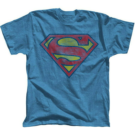 Superman Basic Logo Men's Short Sleeve Graphic T-shirt, up to Size 3XL (Sloth Superman Shirt)