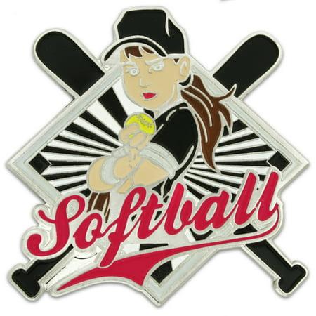 Girls Softball Player Trading Pin Sports Lapel