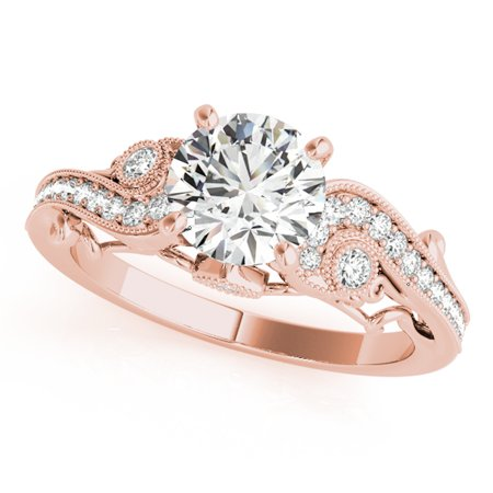 - 1/2 Ct. Halo Antique Engagement Diamond Ring In 14k Rose Gold