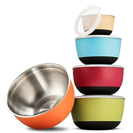 Multicolor Stainless Steel Mixing Bowls - Premium 5 Piece Set With Sealed lids, Nesting Storage Bowls, Plastic Exterior, Non-Skid Bottom for Easy Mixing and Prepping, Includes ¾, 1 ½, 2 ⅖, 3, and 5 Qt