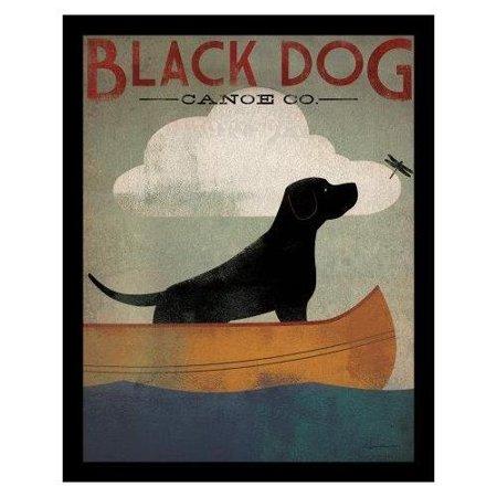 FRAMED Black Dog Canoe by Ryan Fowler 28x22 Whimsical Labrador Sign Art Print (Black Labrador Dog Pictures)