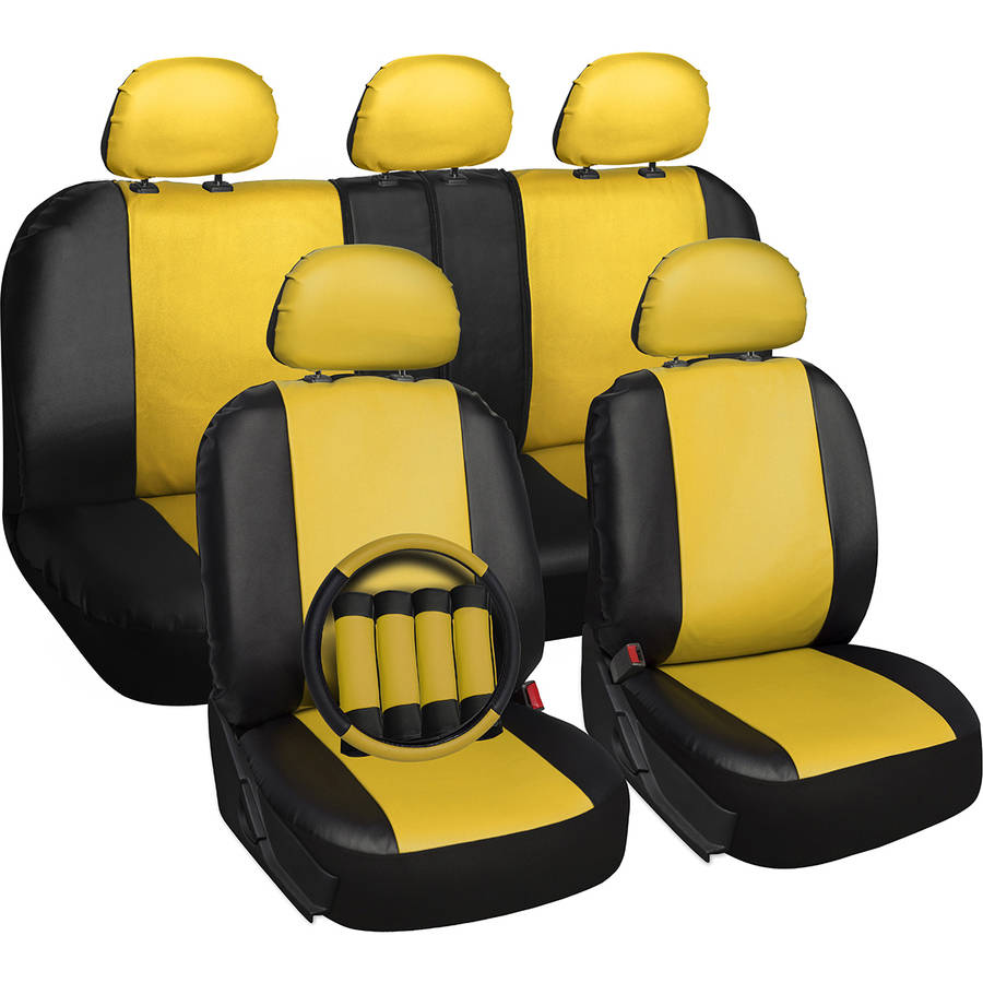 Oxgord 17-Piece Set Faux Leather/Auto Seat Covers Set, Airbag Compatible, 50/50 or 60/40 Rear Split Bench, Universal Fit for Car, Truck, or SUV, FREE Steering Wheel Cover, Yellow
