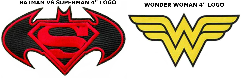 Superheroes dc comics batman vs superman and wonder woman logos 2 pack embroidered