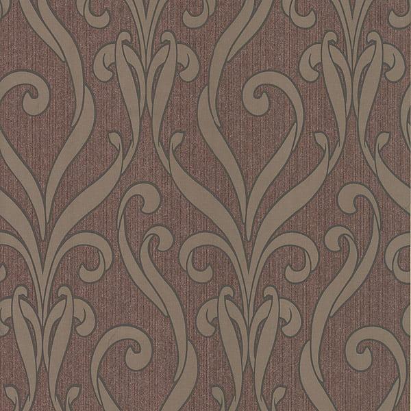 Kenneth James Medusa Burgundy Swirl Modern Damask Wallpaper