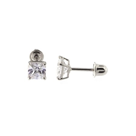 14k White Gold 0.8 ctw Princess Cut Cubic Zirconia Stud Earrings with Child Safe Screwbacks