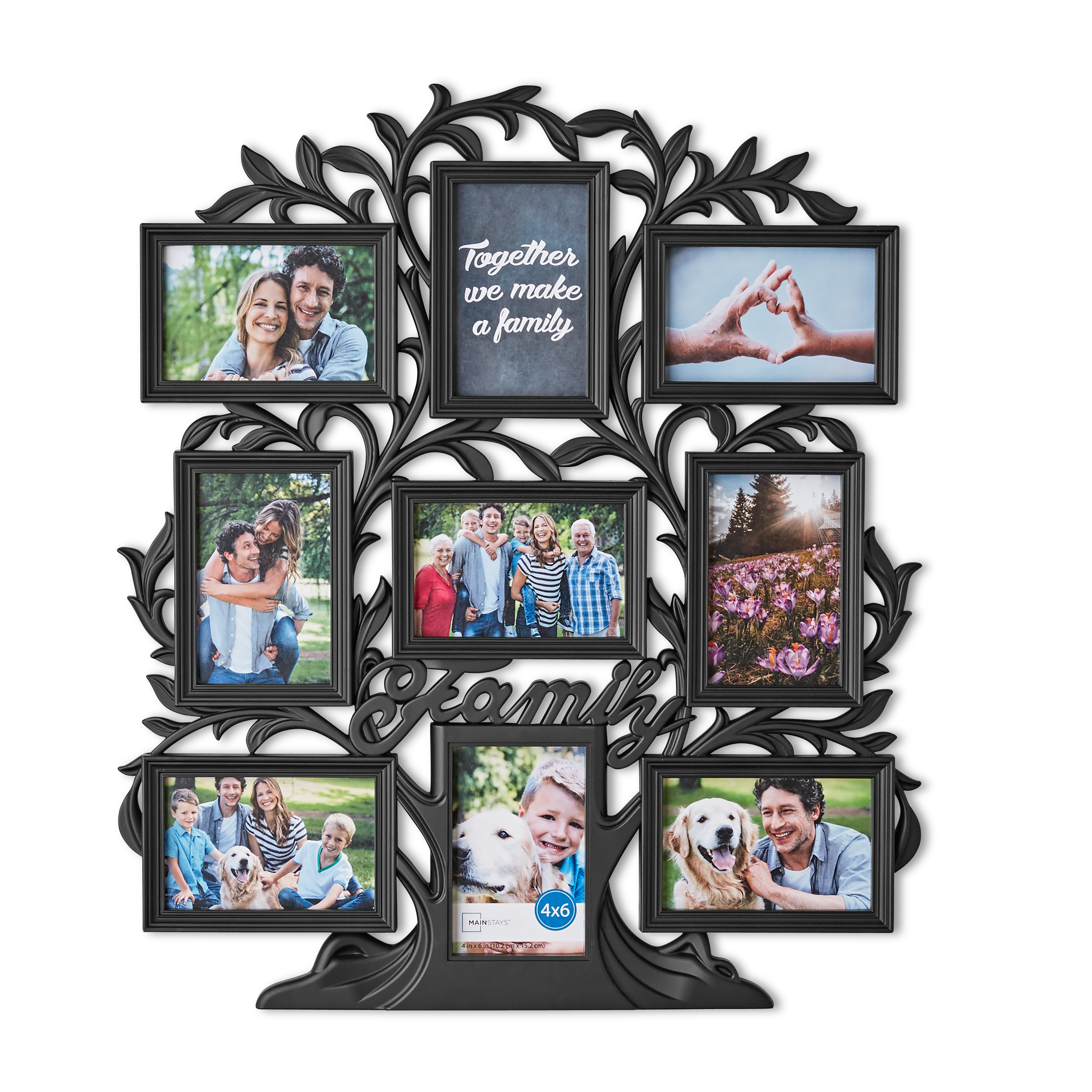 "Mainstays 21"" x 24"" 9-Opening Family Tree Wall Collage Picture Frame, Multiple Colors"