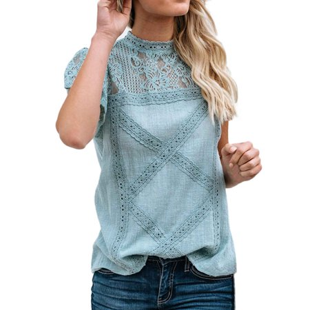 Tuscom Womens Lace Patchwork Flare Ruffles Short Sleeve Cute Floral Shirt Blouse Top Plus Size
