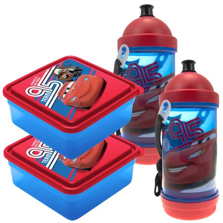 Set Of 2 Disney Cars Sip N Snack Canteen Bottles, 2 Chillpak Sandwich Containers Lunch For (Sandwich Containers For Kids)