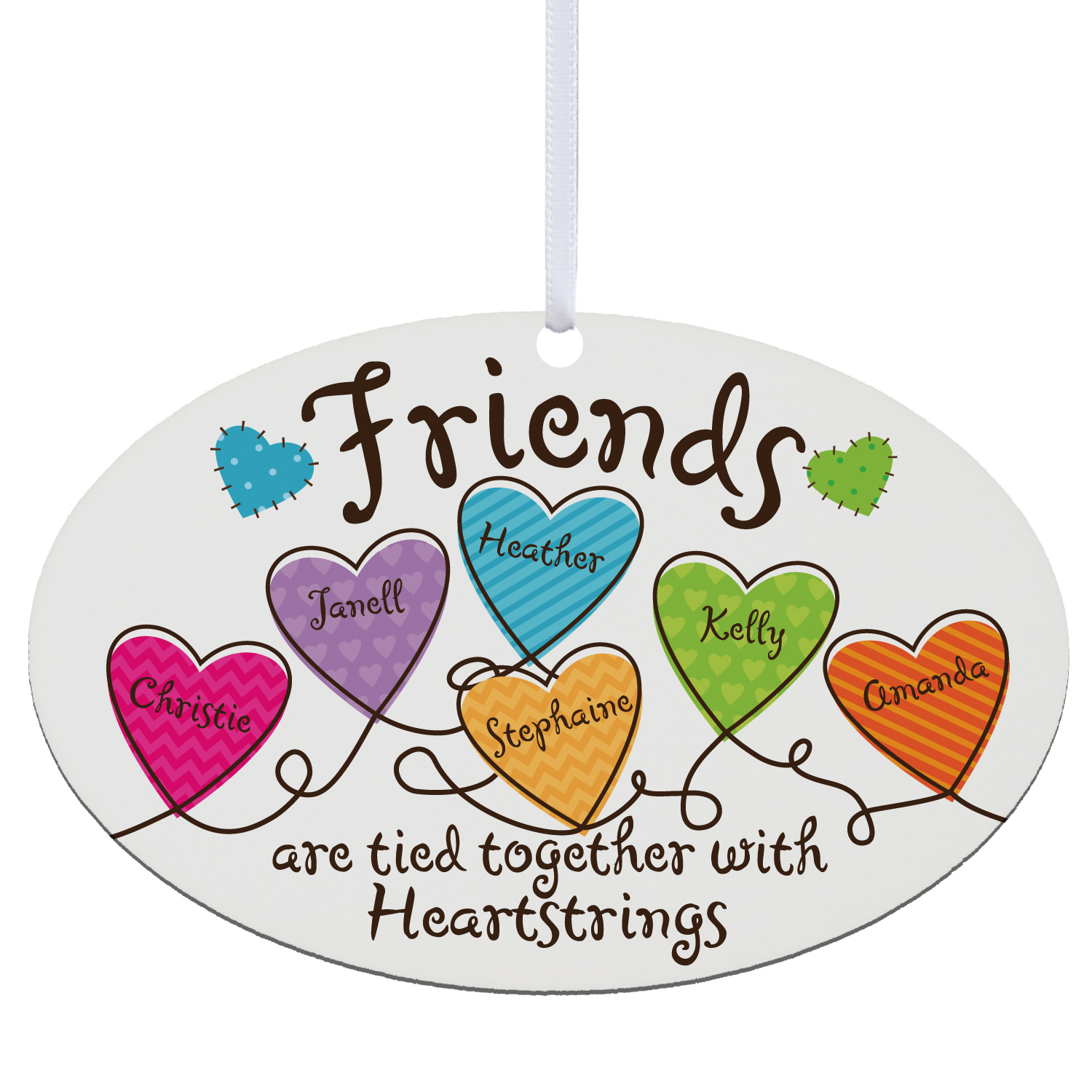 Personalized Friends Heartstrings Oval Ornament-Available for Sisters or Friends