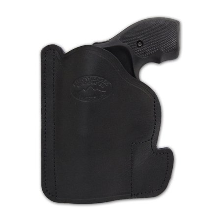 Barsony Ambidextrous Black Leather Pocket Gun Holster Size 2 Charter Arms Rossi Ruger LCR S&W .22 .38 .357