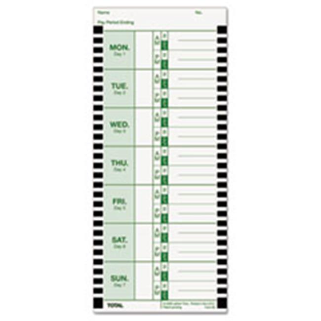 Lathem Time Corporation E8100 Time Card for Lathem Model 800P, 4 x 9, Weekly, 1-Sided, 100/Pack