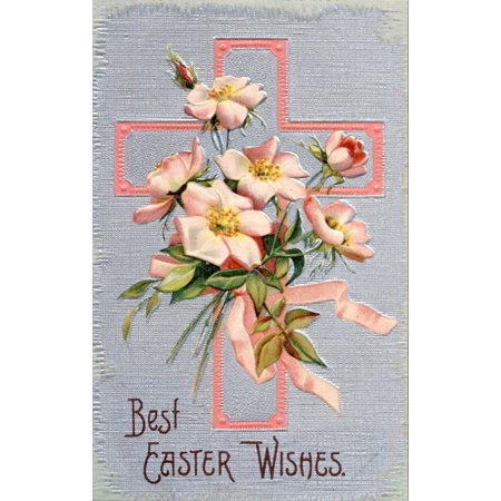 Postcard nd Best Easter Wishes with cross & tea roses Canvas Art - Unknown (18 x - Best Wishes Postcard
