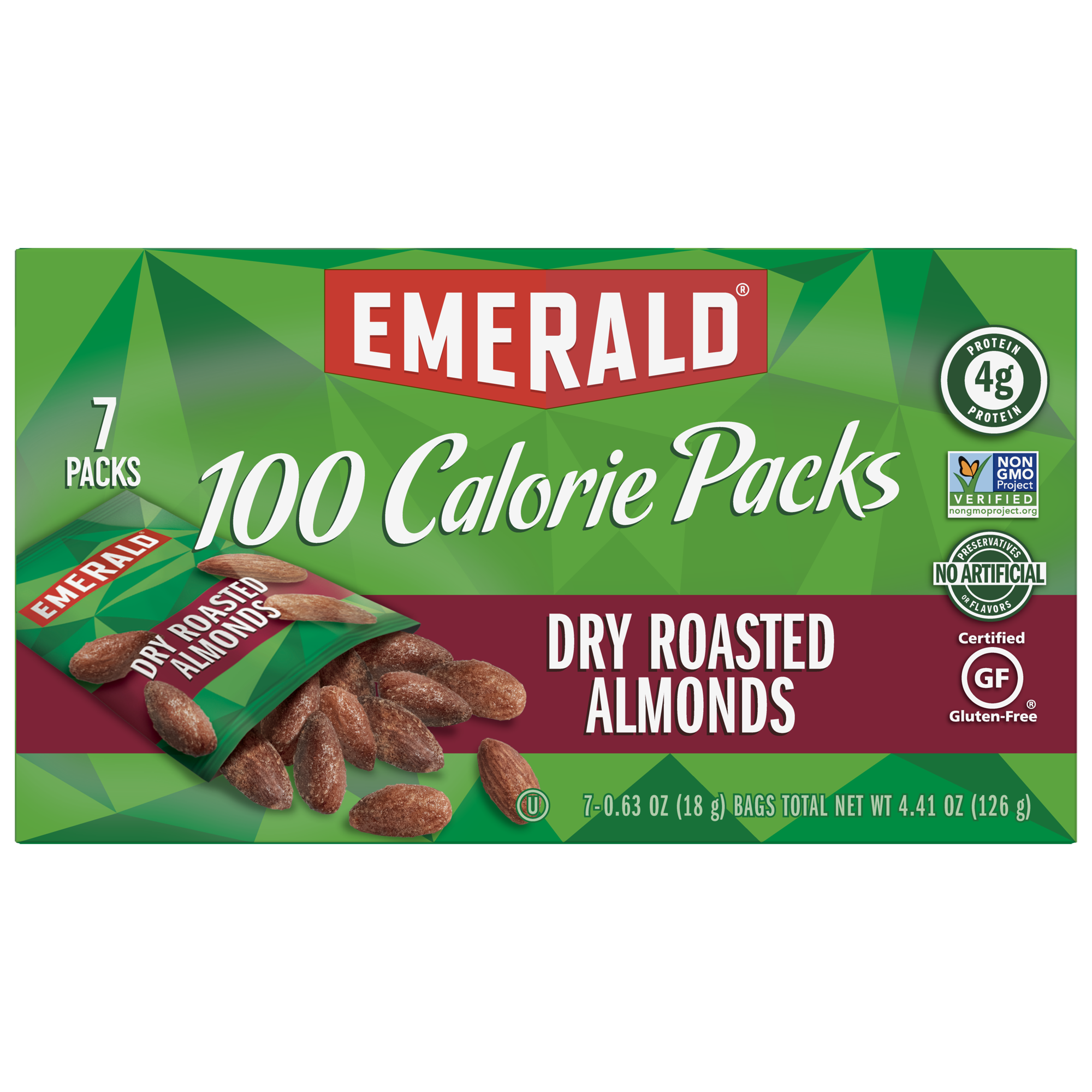 (2 Pack) Emerald Dry Roasted Almonds, 100 Calorie Packs, 7 Ct