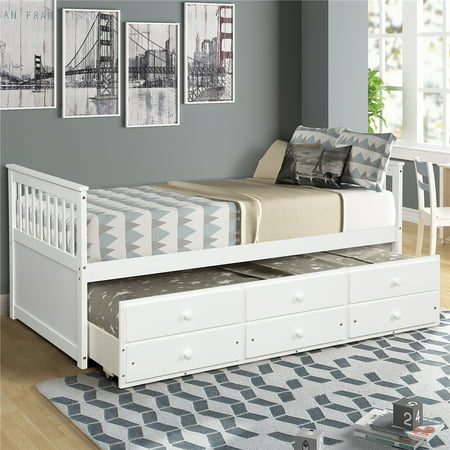 Twin Captain Bed with Trundle Bed and Drawers, Heavy Duty Modern Twin Size Storage Bed Frame with Wood Mattress Support Slat, Solid Mate's & Captain's Bed Twin for Kids Boys Girls, I9673