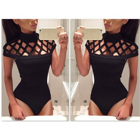 Womens Choker High Neck Bodycon Caged Sleeves Jumpsuit Bodysuit Tops L