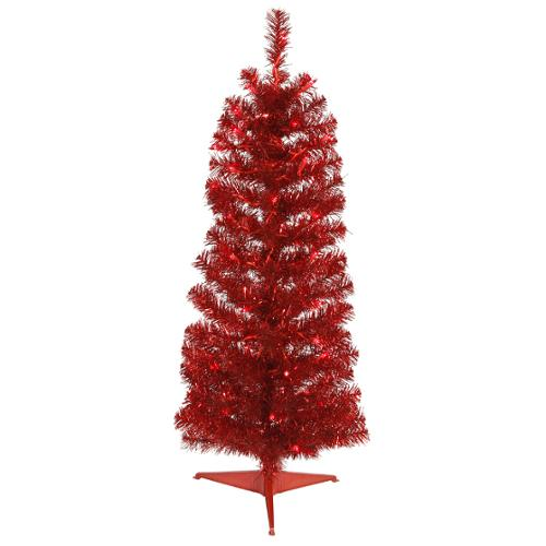 3' Pre-Lit Red Hot Tinsel Pencil Artificial Christmas Tree- Red Lights
