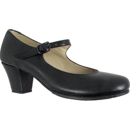 Girls Black Leather Upper Heeled Folklorical Shoes 10 Toddler-4 Kids - High Heel Shoes For Kids Girls