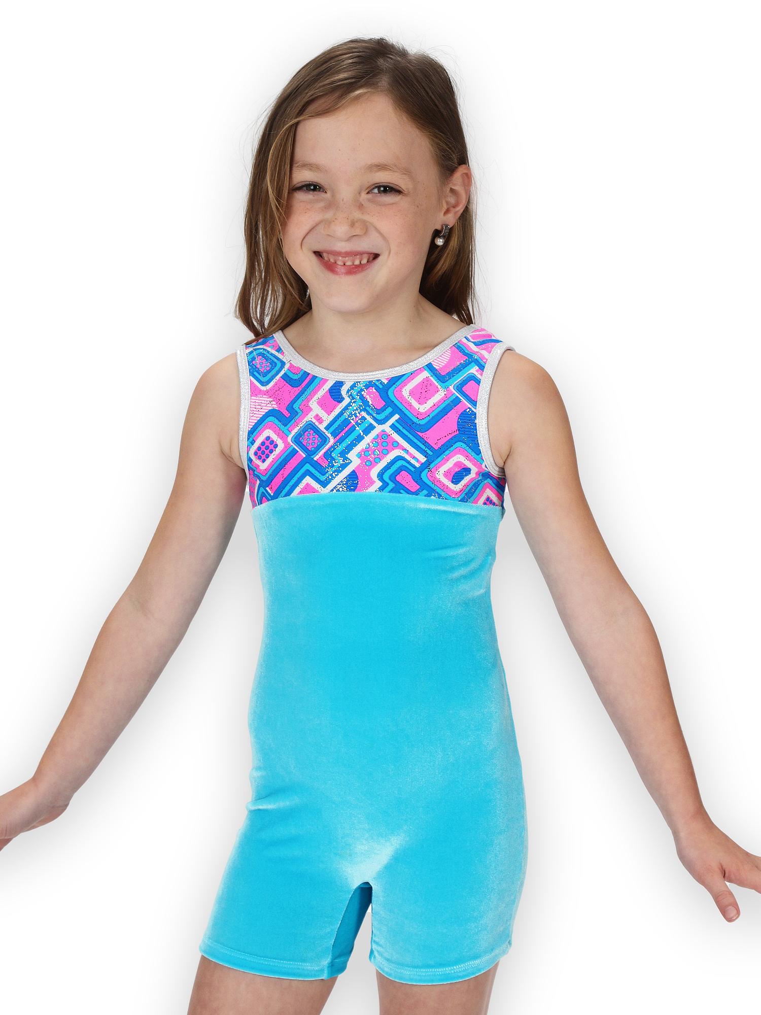 Gymnastics Biketard for Girls - A-Maze-ing Velvet - Leap Gear - 4 | Child Small