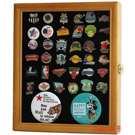 Pin Display Case Jewelry Shadow Box, with glass door, wall mount, Oak Finish (PC02-OAK) (Jewelry Glass Display Box)
