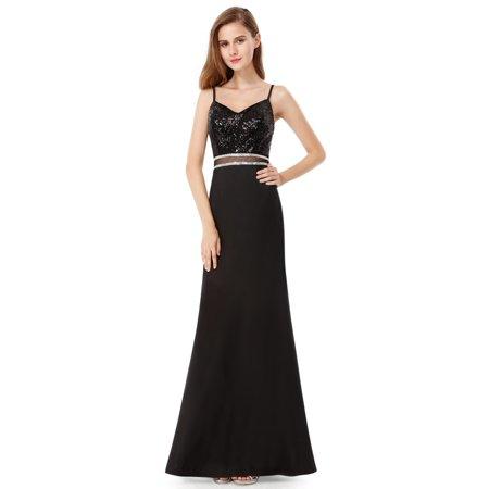 92e91327b74 Ever-Pretty - Ever-Pretty V-Neck Black Formal Evening Dress Sequins ...