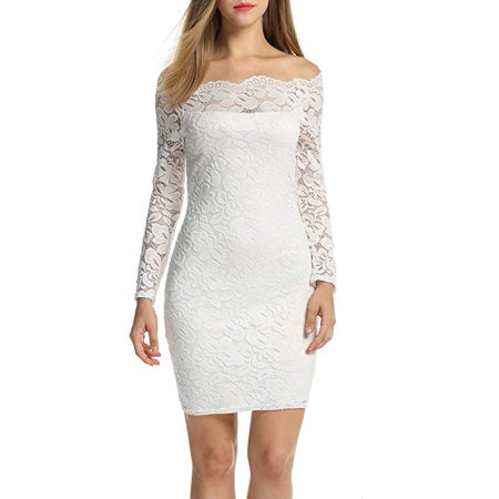 Vista - Women s Off Shoulder Lace Dress Long Sleeve Bodycon Cocktail Party  Wedding Dresses - Walmart.com 416ae33b30