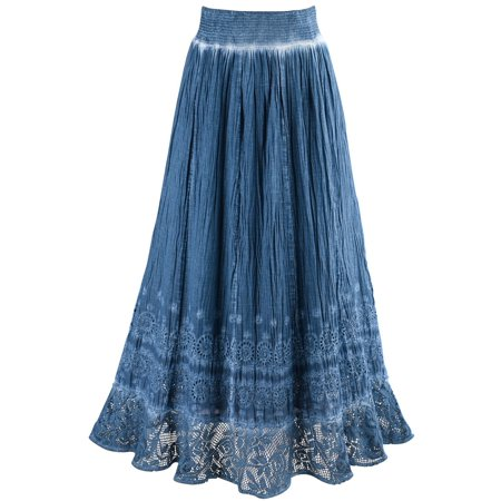 Women's Peasant Skirt - Indigo Blue Pigment Washed Crochet Hem Elastic Waist - XL