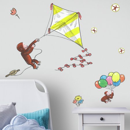 Curious George Storybook Kite Peel and Stick Giant Wall -
