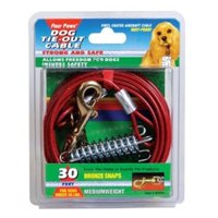 Four Paws 456902 Red Med Cable Tieout 30 Ft.