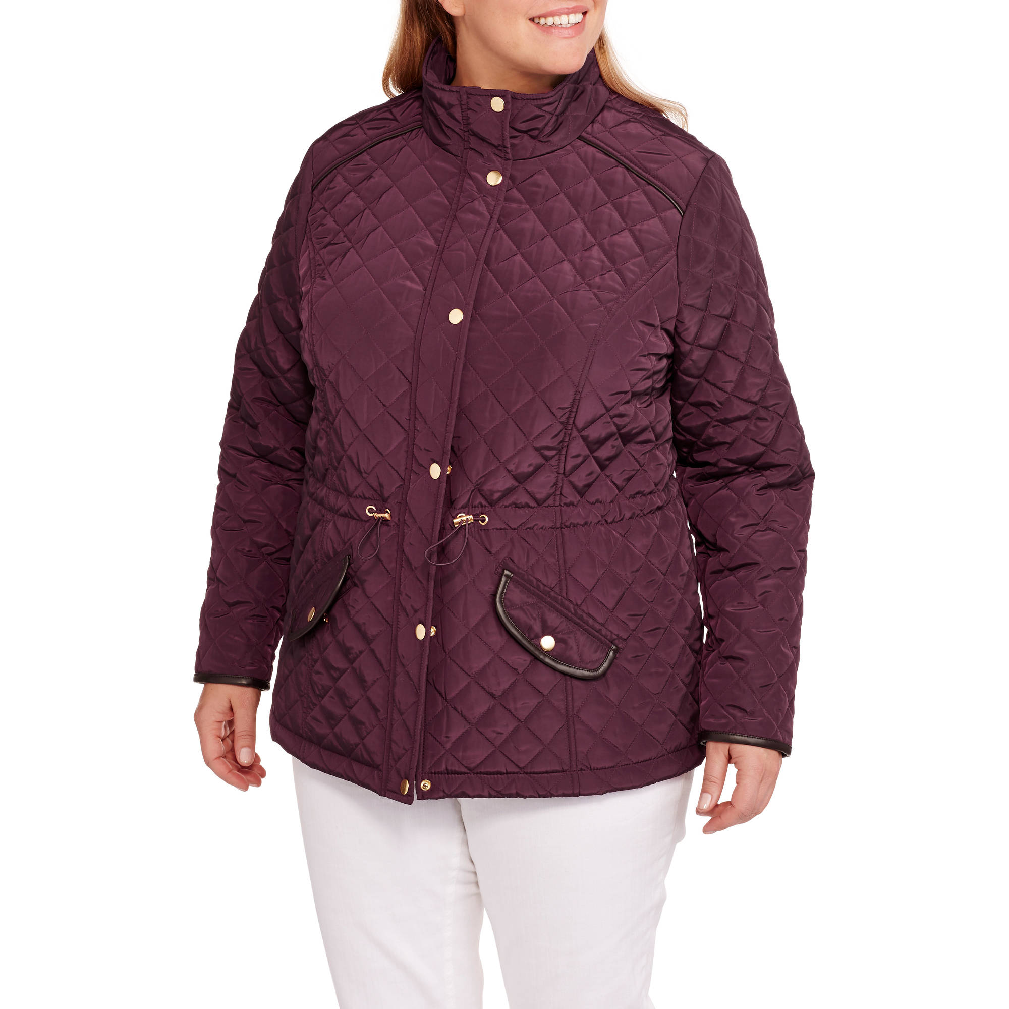 Maxwell Studio Women's Plus-Size Quilted Barn Jacket With Faux Leather Trim
