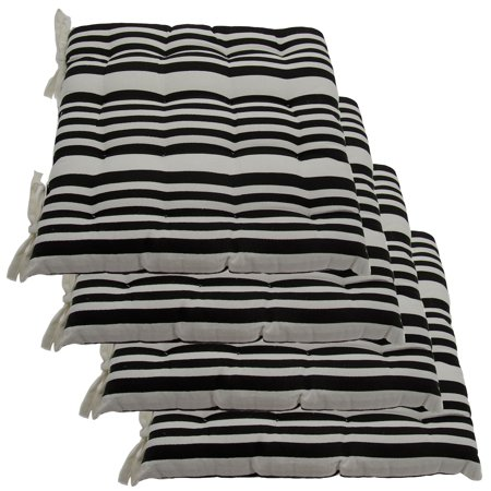 Set Of 4 Cotton Indoor Reversible Chair Pads & Ties Kitchen Dining ...