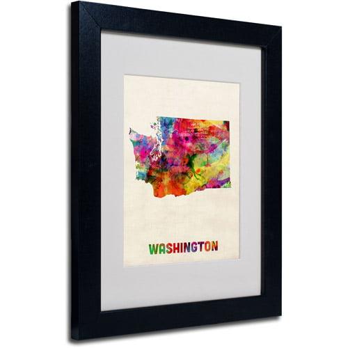 """Trademark Fine Art """"Washington Map"""" Matted Framed Art by Michael Tompsett, Black Frame"""